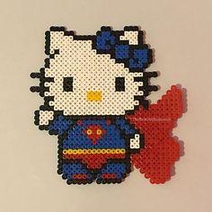 Superman Hello Kitty perler beads by thebeadartbusiness