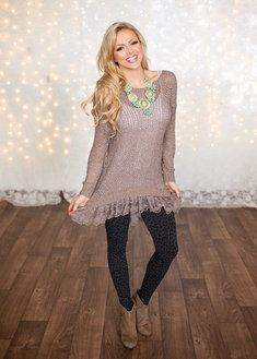From the South Lace Tunic Sweater Mocha