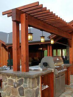 Pergola bar and lighting. I like the simple straight cut ends on the pergola. Outdoor Kitchen Patio, Outdoor Pergola, Pergola Lighting, Backyard Pergola, Outdoor Kitchen Design, Pergola Shade, Pergola Plans, Outdoor Living, Outdoor Kitchens
