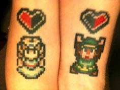 Tattoo Ideas for Couples zelda tattoos for a couple!zelda tattoos for a couple! Gamer Tattoos, Cartoon Tattoos, Legend Of Zelda Tattoos, Snoopy Tattoo, Couple Tattoos, Love Tattoos, Tatoos, Zelda Pixel, Link Zelda
