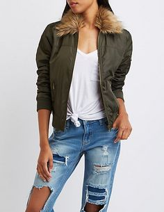Faux Fur Collar Bomber Jacket | Charlotte Russe