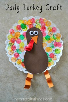 I HEART CRAFTY THINGS: Doily Turkey Craft for Kids