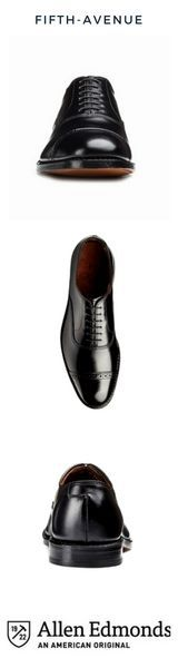 """$425 Cap-Toe Oxford  SOLD by ALLEN EDMONDS  the """"Fifth Avenue""""  Six-eyelet lace-up balmoral made of quality calfskin leather and handcrafted.  Single oak leather sole  360 degree Goodyear welted construction  recraftable  affiliate"""