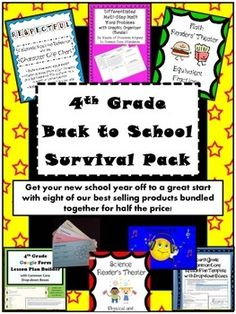 Get your new school year off to a great start with eight of our best selling products bundled together for half the price! Some of the items Included in the survival pack are these best sellers: Differentiated Multi-Step Math Word Problems with Graphic Organizer (Bundle), 4th Grade Common Core Lesson Plan Template with Drop-down Boxes, Reading Comprehension Strategy Card Ring and more!  $32.00 worth of highly rated products for only $16