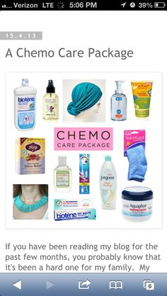Chemo care package - this could be an AMAZING service project!!!