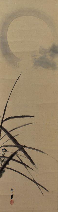 Pair of Scroll Painting Bush warbler and the moon. Imao Keinen (1845-1924). Japanese hanging scroll painting.