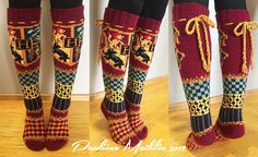 Ravelry: Tylypahka-sukat, Hogwarts socks pattern by Pauliina Mathlin – Vintage Knitting Patterns Tricot Harry Potter, Harry Potter Crochet, Crochet Socks, Knitting Socks, Knit Crochet, Knitting Patterns Free, Knit Patterns, Canvas Patterns, Hogwarts