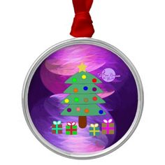 Christmas Tree & Presents Silver Round Ornament by #MoonDreamsMusic #ChristmasOrnament