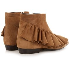 J.W.Anderson Ruffled suede ankle boots ($720) ❤ liked on Polyvore featuring shoes, boots, ankle booties, brown ankle boots, brown suede ankle booties, ankle boots, tan ankle boots and short brown boots
