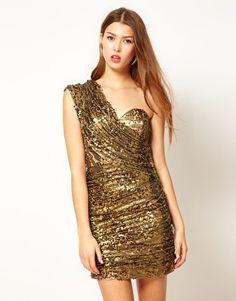One Shoulder Sequin Ruche Dress