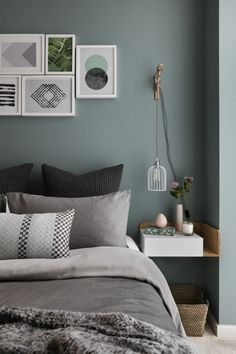 Gray and Sage Green Bedroom. Gray and Sage Green Bedroom. Gray and Sage Green Bedroom Gray and Sage Green Bedroom Green Bedroom Design, Sage Green Bedroom, Blue Bedroom, Trendy Bedroom, Bedroom Colors, Bedroom Designs, Bedroom Loft, Green Bedrooms, Bedroom Suites