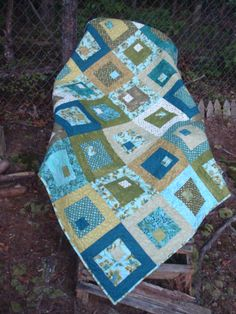 Aqua Teal and Green Lap Baby Throw Quilt by Jackiesewingstudio