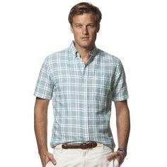 NWT Men's CHAPS Classic Check Linen Blend Button Down Casual Shirt Palm Beach S #Chaps #ButtonFront