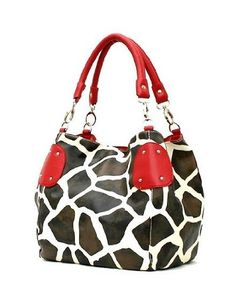 Red Large Vicky Giraffe Print Faux Leather Satchel Bag Handbag Purse - http://handbags.apparelique.com/womens-handbag/red-large-vicky-giraffe-print-faux-leather-satchel-bag-handbag-purse/