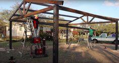 Building a Metal Carport - Part 2 - Wilker Do's Carport Plans, Carport Garage, Pergola Carport, Detached Garage, Carport Ideas, Garage Ideas, Metal Shop Building, Building A Garage, Shop Buildings