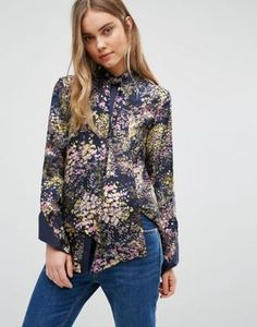 Warehouse Printed Tie Neck Blouse