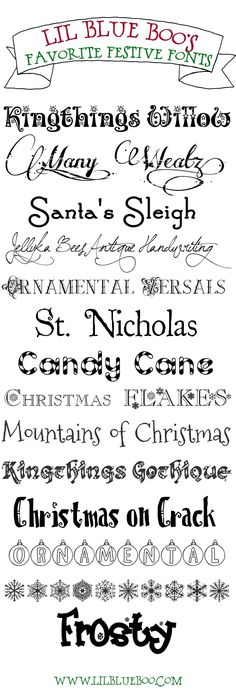 Favorite FREE festive holiday fonts! via lilblueboo.com ~~ {14 free fonts w/ easy download links}