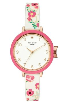 A printed silicone strap pops with color and playful style on a classic round watch.