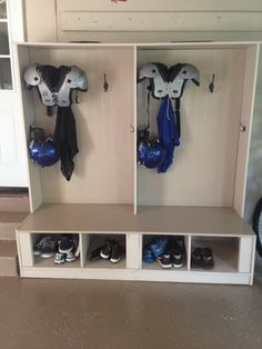 Love this when they come home from football. So nice to not have all of the equ… – Garage storage locker – Decoration Garage Organization, Garage Storage, Locker Storage, Sports Organization, Organizing, Workshop Organization, Boys Football Room, Football Gear, Sports Equipment Storage