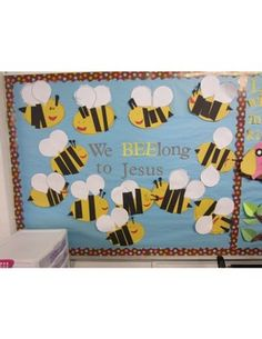 B's Beehive: Bee Bulletin Board and a Freebie! Bee Bulletin Boards, Religious Bulletin Boards, Christian Bulletin Boards, Spring Bulletin Boards, Back To School Bulletin Boards, Preschool Bulletin Boards, Christian Classroom, Bullentin Boards, Christian School