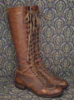 Vintage  lace up, brown leather riding boots... so distressed and lived in..
