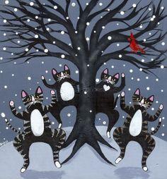 winter folk art | Winter Celebration Cat Original Folk Art by KilkennycatArt on Etsy, $ ...