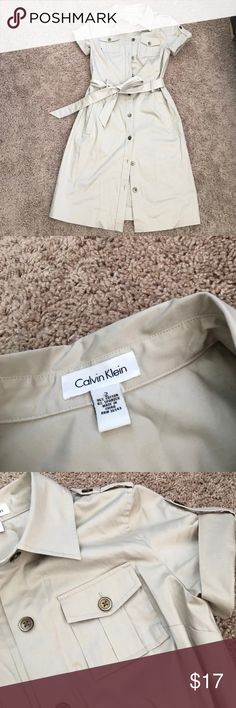 Tan Nude Calvin Klein Short Sleeve Shirt Dress 2 Tan Nude Calvin Klein Short Sleeve Shirt Dress Sz 2. Super cute and in great condition! Calvin Klein Dresses Midi