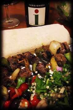Lamb Kebabs with Taboli and a glass of Sangiovese - perfect!