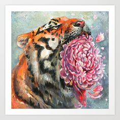 Fragile petals of a wild tiger's roar flying smoothly and landing in your palms. Acrylic and gouache on gessoed cardboard.