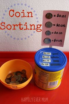 Make your own coin sorting game from an old container! Great idea for a math center in a special education classroom. Work on those fine motor skills at the same time as math skills classroom Simple Coin Sorting - Happily Ever Mom Coin Sorting, Sorting Games, Math Games, Learning Activities, Kids Learning, Money Activities, Life Skills Activities, Sorting Activities, Cognitive Activities