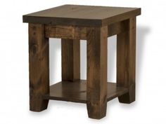 Rough Sawn End Table with Shelf | Munros Furniture