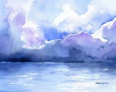 Abstract Seascape/ Landscape watercolor giclée reproduction. Landscape/horizontal orientation. Printed on fine art paper using archival pigment inks. This quali