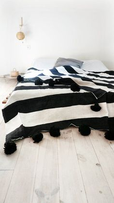 Moroccan POM POM Cotton Blanket - Black and White BandsBeautiful Moroccan Blanket Cotton, with pompoms on two sides. Woven in handloomed in Morocco. Is the perfect for bed cover or sofa. Modern Blankets, Cotton Blankets, Cozy Blankets, White Throw Blanket, Wool Blanket, Black Couches, Couch Throws, Bed Covers, Bed Spreads