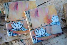 Items similar to Lotus Painting Recycled Ceramic Tile Art Coasters (set of on Etsy Ceramic Coasters, Tile Coasters, Alcohol Ink Tiles, Lotus Painting, Ceramics Ideas, Pottery Painting, Artsy Fartsy, Watercolors, Free Recipes