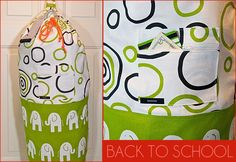 Directions, dorm laundry bag. Don't love the fabric here, but a great gift idea. #sewing #crafts #diy