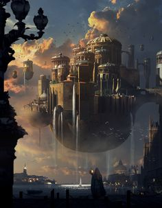 [image] Title: Sunset Castle Name: Mai Anh Tran Country: Canada Software: Photoshop Submitted: September 2014 Did this matte painting illustration based on Park Jong Won's concept art. Fantasy Kunst, Fantasy City, Fantasy Castle, Fantasy Places, Fantasy World, Fantasy Artwork, Fantasy Concept Art, Space Fantasy, Fantasy Landscape