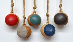 Love these! Jingle Bells with Firefly Sgraffito Pattern - Stoneware & Hemp Rope by Michele Quan.