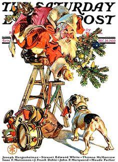 "Giclee Print: ""Santa Up a Ladder,""December 20 Art Print by Joseph Christian Leyendecker : Norman Rockwell Christmas, Norman Rockwell Art, Vintage Christmas Images, Christmas Pictures, Father Christmas, Christmas Art, Christmas Decoupage, Xmas, The Arrow"