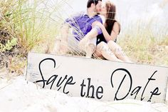 Vintage Save the Date, We're Engaged or Thank You Sign, 2-Sided, 8 X 24 inches.  You choose the 2 sayings.  Engagement Photo Prop. via Etsy