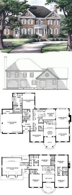 I love the floor plan I would like a different exterior. Georgian House Plan with 3951 Square Feet and 5 Bedrooms from Dream Home Sims House Plans, Dream House Plans, House Floor Plans, My Dream Home, Dream Homes, 5 Bedroom House Plans, Square House Plans, Colonial House Plans, Style At Home