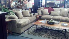 Deep Seating Sofa + Loveseat Amish Wood Coffee Table