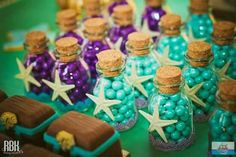 Little Mermaid Birthday Party favors Little Mermaid Baby, Little Mermaid Parties, Little Mermaid Wedding, Mermaid Theme Birthday, Little Mermaid Birthday, Baby Shower Mermaid Theme, Mermaid Party Favors, Mermaid Babyshower Ideas, Little Mermaid Centerpieces