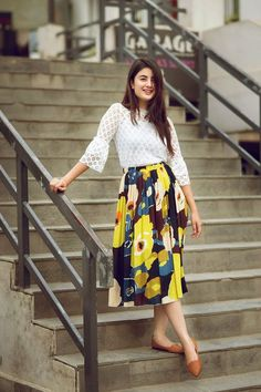 Niti Shah Is Slaying It In This Photoshoot! Frock Fashion, Girl Fashion, Fashion Outfits, Modesty Fashion, Beautiful Casual Dresses, Trendy Dresses, Girl Photo Poses, Girl Poses, Picture Poses
