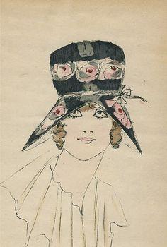 Big-Eyed Girl in Floral Hat