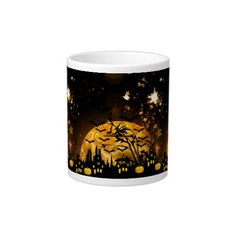 Flying Witch Harvest Moon Bats Halloween Gifts Jumbo Mugs SOLD on Zazzle