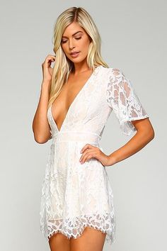 Lace romper featuring deep v neckline and zip back closure. - Romper - Lace  - Deep V Neckline - Sheer Back - Back Closure - Fits True To Size