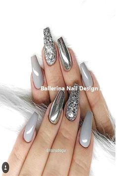 Top Trendy 57 Ideas For Acrylic & Gel Nail ArtLooking for some cool DIY Nail Art ideas? once it involves the simplest nail art styles, creative thinking is your supporter, though which means an artless thanks to get minimalist nails. Grey Nail Art, Grey Acrylic Nails, Gray Nails, Silver Nails, Nail Art Diy, Cool Nail Art, Acrylic Gel, Grey Art, Silver Nail Designs