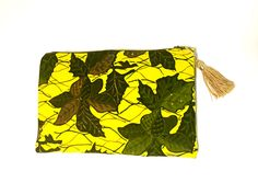 Zip top clutch with tassel- yellow, green, brown · Le Gendre · Online Store Powered by Storenvy