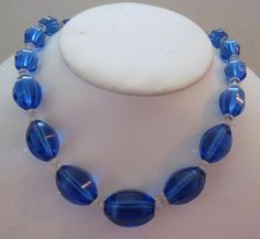 Vintage Costume Jewelry - Wonderful Art Deco Sapphire & Clear Crystal Necklace - DOWNTON ABBEY ALERT