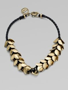 Leather Accented Wheat Petal Necklace - Giles & Brother £185  #jewellery #design
